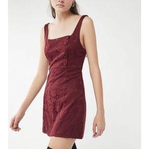 NWT UO Hallie Embroidered Square-Neck Mini Dress